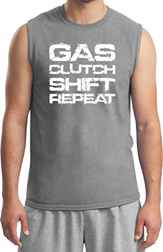 Mens White Gas Clutch Shift Repeat Muscle Shirt, Sports Grey, Medium (Clutch Sport Muscle)