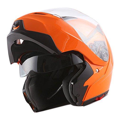 (1Storm Motorcycle Street Bike Modular/Flip up Dual Visor/Sun Shield Full Face Helmet (GlossyOrange, Large))