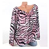 Womens Tops Clearance - WEUIE Womens Casual Long Sleeve Blue Stripe Button T-Shirts Irregular Tops Blouse(L, Pink)