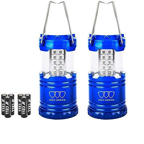 Gold Armour LED Lantern Camping Lantern - Camping Equipment Camping Gear Camping Lights for Hiking, Emergency, Hurricanes, Outages, Storms, Camping Lanterns (2Pack Blue)