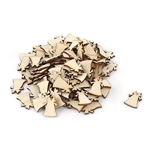 eDealMax Natale in Legno a Forma di Campana del mestiere di DIY Fette Decor 20 millimetri x 20mm 100 Pz Beige