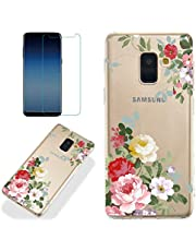 Clear Case for Samsung Galaxy A8 2018 with Screen Protector,QFFUN Ultra Thin Slim Fit Soft Transparent Silicone Phone Case Crystal TPU Bumper Shell Scratch Resistant Protective Cover - Flower