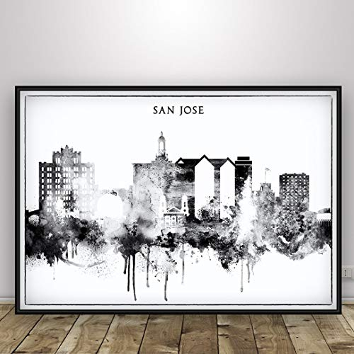 San Jose Black and White City Print, San Jose Skyline Poster, Living Room Decor Ideas, California CItyscape, San Jose Wall Hangings and Prints, Unframed print