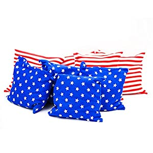 Premium All-Weather Duck Cloth Cornhole Bean Bag Set Total Count 8 Tote Bag Included (Stars & Strips)