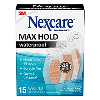 Nexcare Max Hold Waterproof Bandages, Clear, 15 ct Assorted