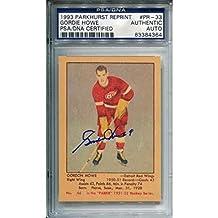 Gordie Howe Autographed 1993 Parkhurst Reprint Rookie Card (PSA/DNA) - Hockey Slabbed Autographed Rookie Cards