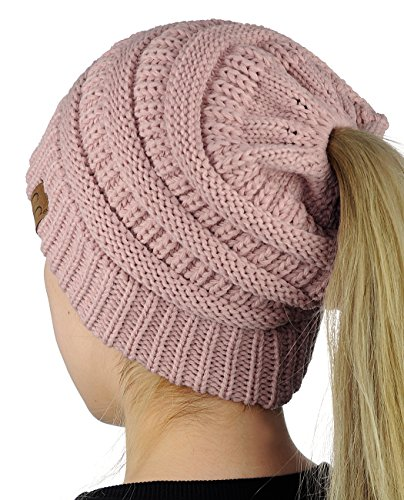 - C.C BeanieTail Soft Stretch Cable Knit Messy High Bun Ponytail Beanie Hat, Rose