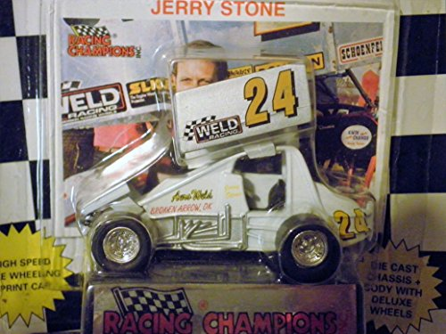 WORLD OF OUTLAWS Jerry Stone Outlaw Sprint Car Black and White Checkered Flag Card 1:64 Scale die-cast Racer by Racing - Flag Diecast Checkered