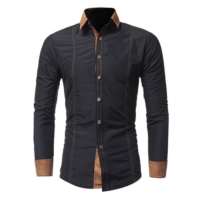 Amazon.com: grefer Hombres Moda solapa botón camisa macho ...