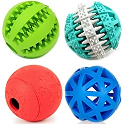PetFavorites Treat Dispensing Dog Toy IQ Balls Interactive Chew Toys & Smart Food Puzzle Boredom/Dental Teething/Slow Down Feeding, 4 Pack.