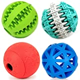 PetFavorites Treat Dispensing Dog Toy IQ Balls Interactive Chew Toys & Smart Food Puzzle for Boredom/Dental Teething/Slow Down Feeding, 4 Pack.
