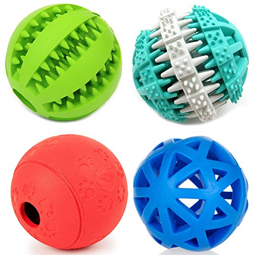 PetFavorites Treat Dispensing Dog Toy IQ Balls Interactive Chew Toys & Smart Food Puzzle for Boredom/Dental Teething/Slow Down Feeding, 4 Pack. by PetFavorites