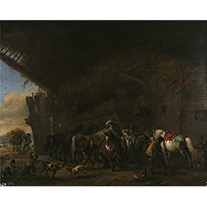 Oil Painting 'Wouwerman Philips Salida De La Posada Ca. 1660', 20 x 25 inch / 51 x 63 cm , on High Definition HD canvas prints is for Gifts And Foyer, Kids Room And Powder Room Decoration
