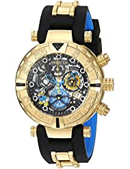 Invicta Mens Disney Limited Edition Quartz Gold-Tone and Silicone Casual Watch, Color:Black (Model: 24510)