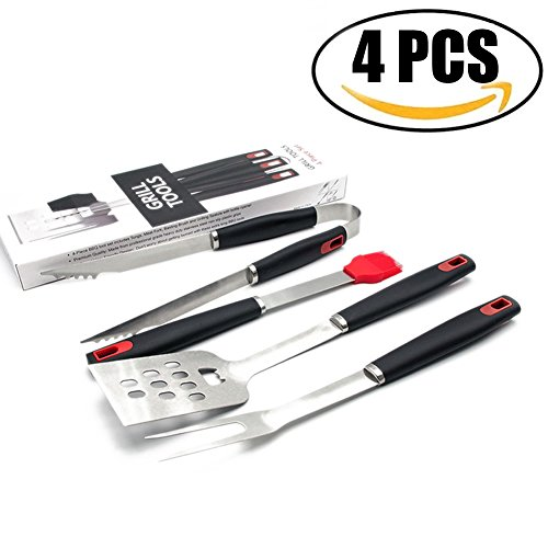 Asdomo Grill Tools, Stainless Steel BBQ Barbecue Grilling Utensils Set,4-Piece Premium Grill Accessories With Gift Box Package for Barbecue (Spatula, Tongs, Fork, and Basting Brush) (Professional Grill Box Carry Bag)