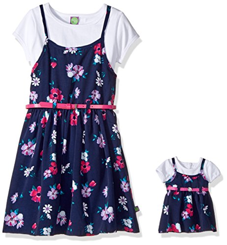 ig 2 Pc Floral Belted Slip Dress and Matching Doll Outfit, Navy/Multi, 10 ()