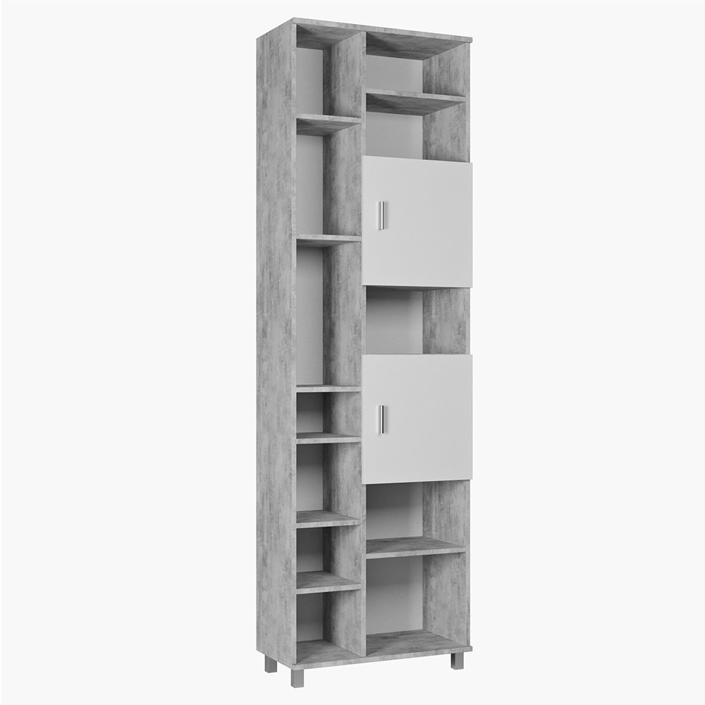 VICCO Badschrank ILIAS Weiß Beton 190 cm - Badezimmerschrank Hochschrank Bad Schrank Badregal