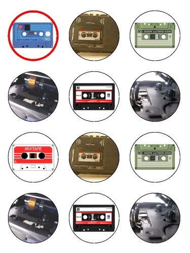 """Twelve 2"""" Vintage Cassette Player & Tape Birthday Edible for sale  Delivered anywhere in USA"""
