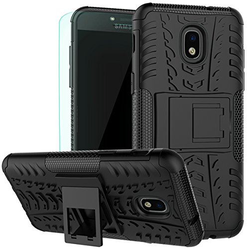 Galaxy J3 2018 Case with HD Screen Protector, J3 Star Case, J3 V 3rd Gen Case,J3 Achieve Case,Express Prime 3/Amp Prime 3,J337A,J3 Orbit,J3 Sol 3 Case Kickstand SunRemex for Samsung Galaxy J3(Black)