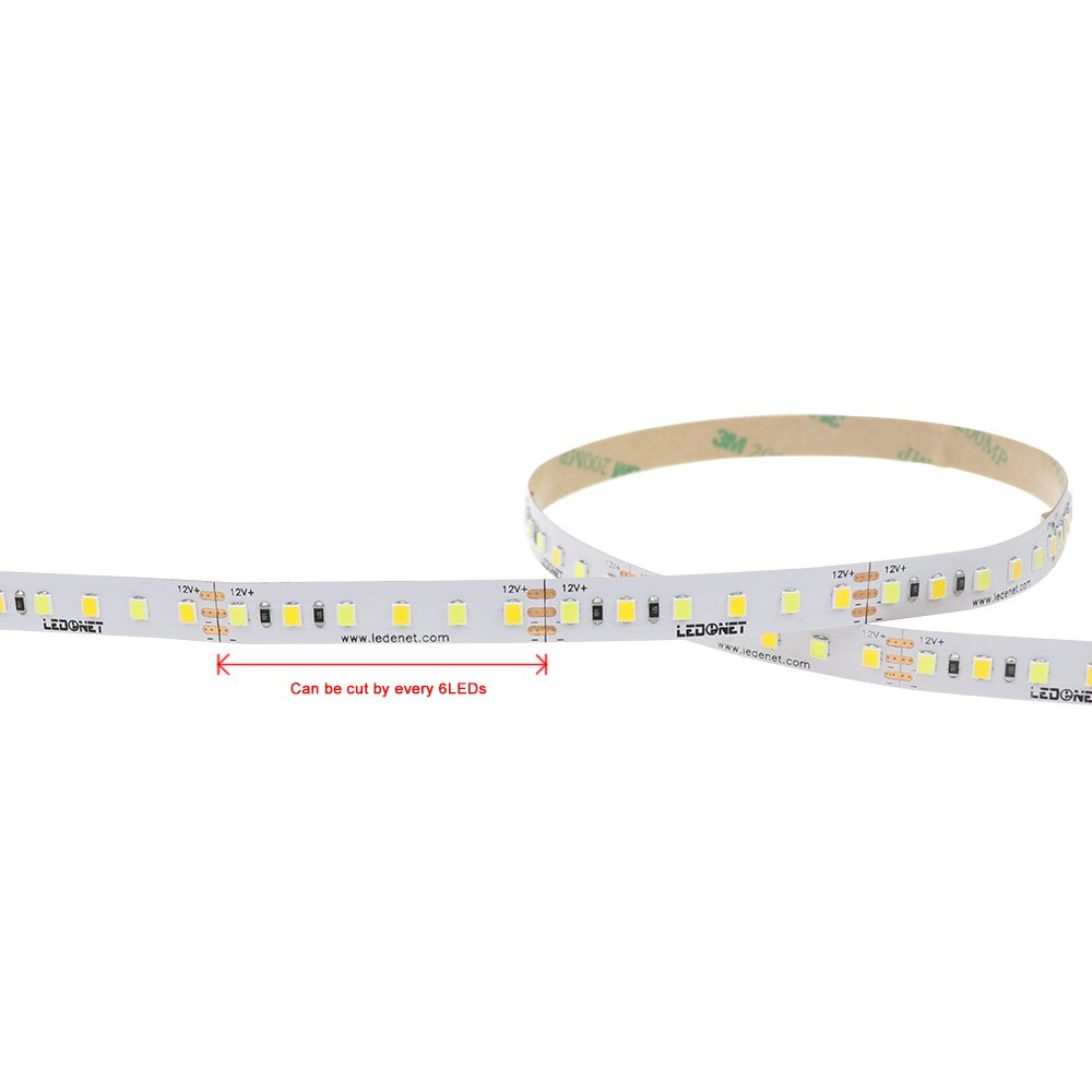 LEDENET LED Strip Light Kit, 16.4FT/5M Color Temperature Flexible 2835SMD 600 LEDs Rope Lights - 24Keys Remote Controller + 6A 12V Power Supply