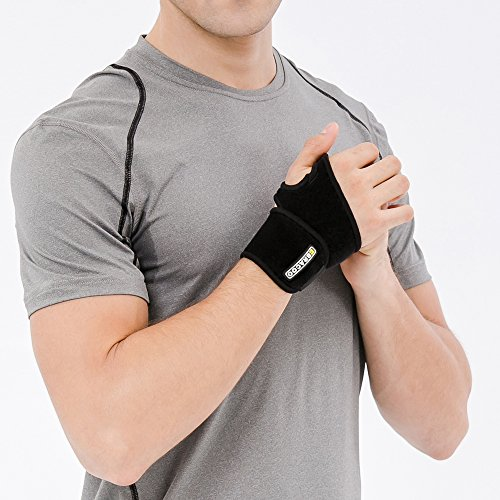 Bracoo Handgelenkbandage, aus Neopren, atmungsaktiv, Einheitsgröße, Schwarz