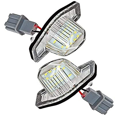 Car License Plate LED Lights 24-3528-SMD Lamp Assembly for Honda Crosstour Odyssey Stream Fit/Jazz Insight CR-V HR-V FR-V/Edix Error Free 3W 18 Led White License Plate 2-pack: Automotive