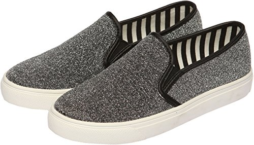 SNRD Glitter Slip Flat Ons 102 Shoes Silver Casual Unisex OBnOqr