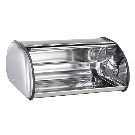 Panera De Acero Inoxidable Plata Espejo Cocina Pan Contenedor de almacenamiento de alimentos