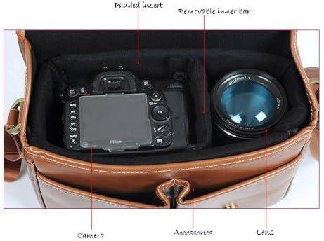 Vintage PU Leather camera bag Messenger bag for DSLR EVIL Camera and lens 03-050 Small size