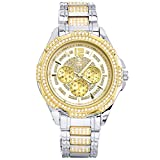 Men's Iced Out Fashion 14K Gold / Silver Plated Metal Band Watches WM 8252 TT