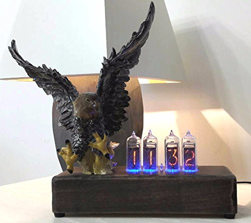 4x IN-14 Nixie Tube Vintage Desk Retro Clock Natural Wood Case Polystone Eagle with Adapter 110/240V (Polystone Table)