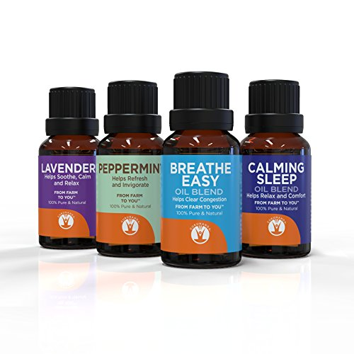 Best Sellers - Top Aromatherapy Essential Oils Set 4pc For Congestion - Natural Sleep Aid - Serenity - Energy - GuruNanda Therapeutic Grade Essential Oils Kit - 100% Pure - ()