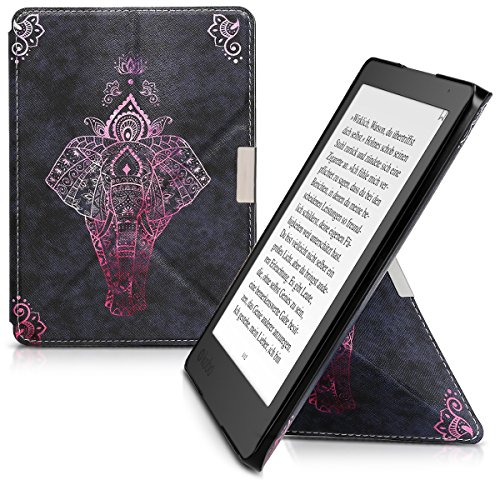 Cover case for Kobo Aura Edition 2 with stand - kwmobile Ultra slim case made of synthetic leather Design Zentangle elephant in dark pink - Alcantara Is What