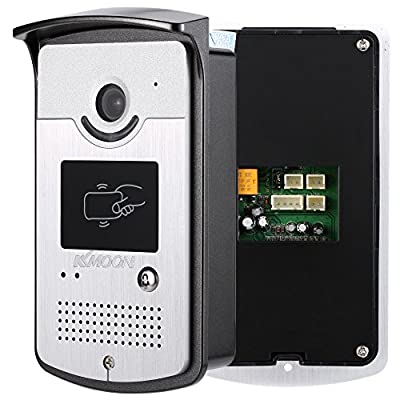 KKmoon Wired Video Doorbell Phone Visual Intercom, 7'' Inches Indoor Monitor with 700TVL Outdoor Night View Camera & DC12V/3A Power Supply & 180KG Electric Strike for Door Entry Access Control