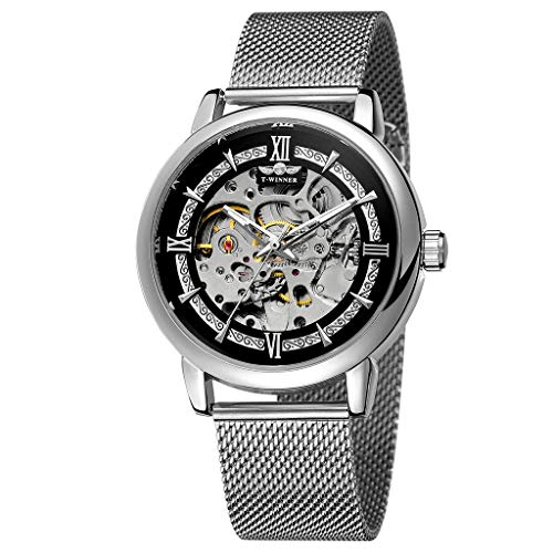 (LUCAMORE Mens Luxury Automatic Skeleton Mechanical Wristwatch Mesh Stainless Steel Band Hollow Waterproof Business Watches)