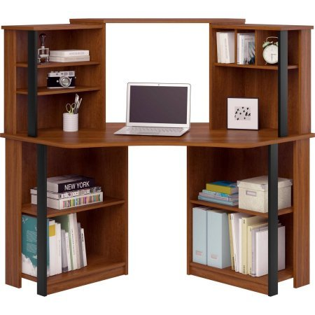 Mainstays Corner Workstation, Cherry with Black Accents