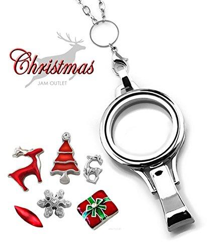 CHRISTMAS Memory Locket Lanyard ID Badge Holder Set, Rolo Chain, REINDEER Floating Charms & Gift Box - Reindeer Ring Holder