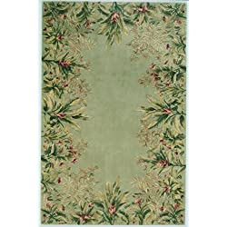 Kas Rugs 9026 Emerald Tropical Border Runner, 2-Feet 6-Inch by 8-Feet, Sage