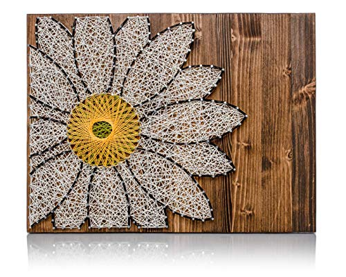 DIY String Art Kit - Daisy String Art, DIY Kit, Crafts Kit, Daisy Art, Daisy Lover Gift, Daisy Gift Ideas, Daisy Decor, w/Supplies and Wood (Strings Daisy)