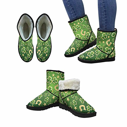 InterestPrint Womens Snow Boots Saint Patricks Day Design Art Print Deco With Clover, Golden Stars and Horseshoe Unique Designed Comfort Winter Boots Multi 1