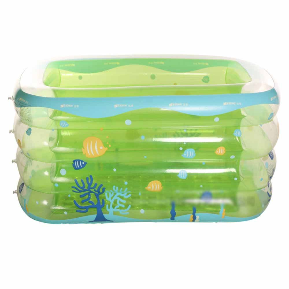 LQQGXL,Bath Infant and toddler inflatable pool Thicker long side plus baby puzzle pool Inflatable bathtub ( Color : Green , Size : 143cm )