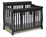 Black Baby Cribs with Changing Table Attached Stork Craft Tuscany 4-in-1 Convertible Crib, Black