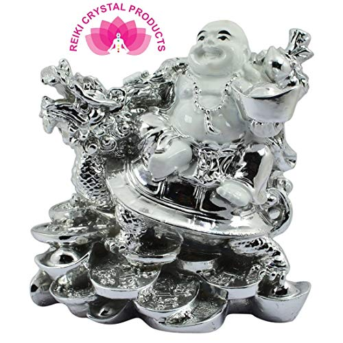 (Reiki Crystal Products Vastu/Feng Shui Porcelain Laughing Buddha with Dragon Boat & Coins (White and Silver))