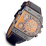 Lancardo Reloj Comercial de 3 Diferente Tiempo Mundial Gran Dial Irregular Pulsera Electrónica Casual de Cuero con Original Cuarzo Japonés para Viaje Negocios Actividad para Hombre (Naranja)