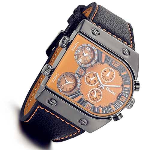 (Men's 3 Time-Zone Supported, Japan Quartz, Large Face Military Army Leather Watch(Orange) )