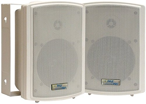 Dual Waterproof Outdoor Speaker System - 5.25 Inch Pair of White Weatherproof Wall/Ceiling Mounted Speakers w/Heavy Duty Grill, Universal Mount - For Use in the Pool, Patio, Indoor - Pyle PDWR5T by Pyle