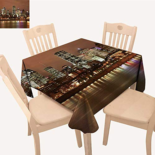 UHOO2018 Square/Rectangle Polyester Cloth Fabric Cover Montreal Skyline at Night Table Top Cover,50x 50inch ()
