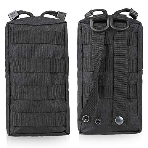 Gohiking Molle Pouch 2 Pack Tactical Compact EDC Utility Gadget Waist Bag with 10 Pack Multipurpose D-Ring Grimloc Locking Hook by Gohiking (Image #1)