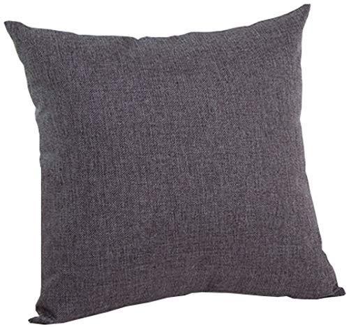 M MOCHOHOME Decorative Linen Solid Square Euro Throw Pillow Cover Case Pillowcase Cushion Sham - 24'' x 24'', Dark Grey
