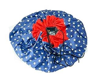 Spieldecke Spielmatte Spielzeug Aufbewahrung Krabbeldecke Aufr/äumsack Spielzeugsack Beutel Tasche 2 in 1 Blau - Mint